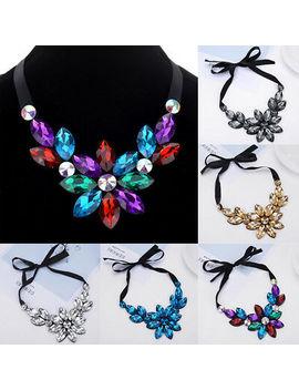 <Span><Span>Fashion Elegant Women Rhinestone Flower Choker Bib Pendant Statement Necklace</Span></Span> by Ebay Seller