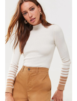 Striped Trim Ribbed Sweater by Forever 21