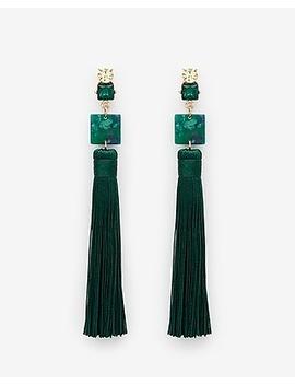 Tiered Resin & Tassel Earrings by Express