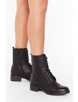 Let's Stay Together Faux Leather Lace Up Boots by Nasty Gal