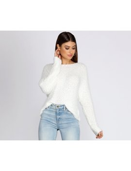 Soft And Sweet Popcorn Knit Sweater by Windsor