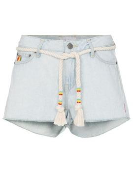 Embroidered Mini Denim Shorts by Mira Mikati