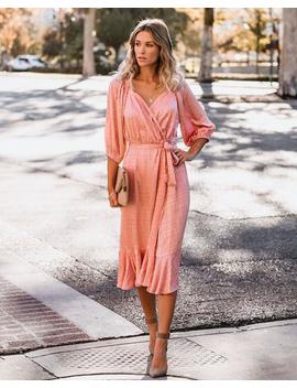 Smile And Shine Satin Wrap Midi Dress   Blush   Flash Sale by Vici