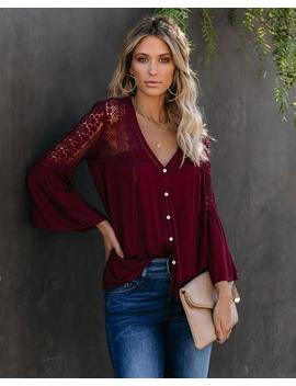 Du Jour Crochet Blouse   Merlot   Flash Sale by Vici