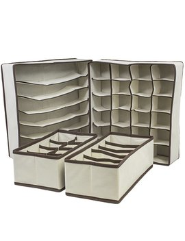Tan 4 Piece Collapsible Drawer Organize Set by Rebrilliant