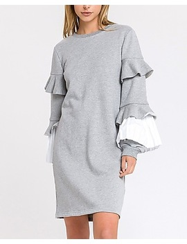 English Factory Gray Pleated Sweatshirt Dress by Express