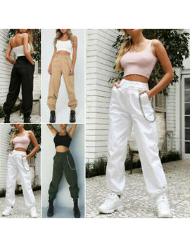Us Fashion Women Cargo Pants High Waist Jogger Casual Trousers Pocket Sweatpants by Unbranded