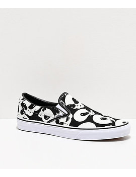 Vans Slip On Alien Ghost Black & White Skate Shoes by Vans