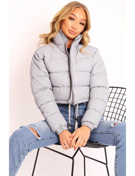 Grey Padded Cropped Puffer Coat   Cameo by Rebellious Fashion