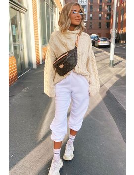 Cream Cable Knit High Neck Oversized Jumper   Kiyla by Rebellious Fashion