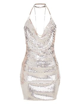 Silver Sequin Cowl Chain Bodycon Dress by Prettylittlething