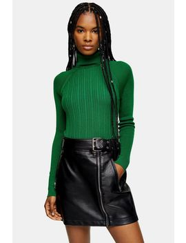 Green Ribbed Roll Neck Knitted Top by Topshop