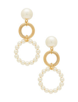 Double Drop Earrings In Gold & Pearl by Ettika