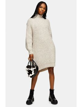 Mink Oversized Knitted Curved Hem Dress by Topshop
