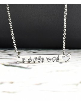Stainless Steel Sign Language 'i Love You' Bar Necklace by Pink Box
