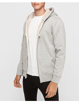 Sherpa Lined Zip Front Hoodie by Express
