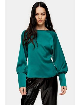 Green Bow Back Blouse by Topshop