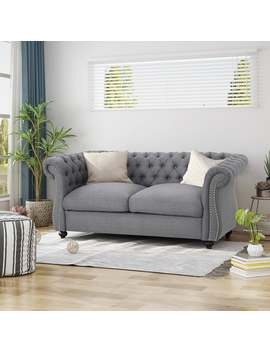 Somerville Traditional Chesterfield Loveseat Sofa By Christopher Knight Home   Dark Gray by Christopher Knight Home
