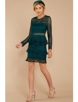 Out For Love Dark Green Lace Dress by Endless Rose
