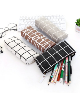 Stationery Canvas Pencil Case School Pencil Bag Simple Striped Grid Pencilcase Office Supplies Pen Bag Students Pencils Writing by Ali Express.Com