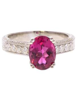 1.73 Carat Oval Rubellite And Diamond Ring In 18 Karat White Gold by 1 Stdibs