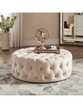 Knightsbridge Round Tufted Cocktail Ottoman With Casters By I Nspire Q Artisan   Beige Velvet by I Nspire Q
