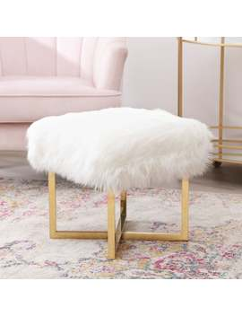Abbyson Evelyn White Faux Fur Stainless Steel Stool by Abbyson