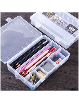 Sketch Pencil Case Simple Plastic Tool Box Artistic Supplies Storage Box Transparent Stationery Case Free Space Switching by Ali Express.Com