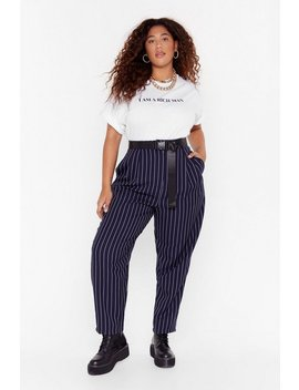 As Line Goes By Plus Pinstripe Trousers by Nasty Gal