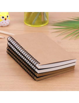 Creative Simple Kraft Paper Material Double Coil Ring Spiral Notebook Sketchbook Diary For Drawing Painting Paper Notepad by Ali Express.Com