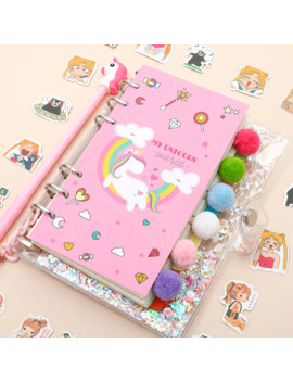 18 Pcs/Set Kawaii Unicorn Planner Book Pink Pvc Transparent Notebook Kawaii Stickers Pen Gift Box Girls Diary Journal by Ali Express.Com