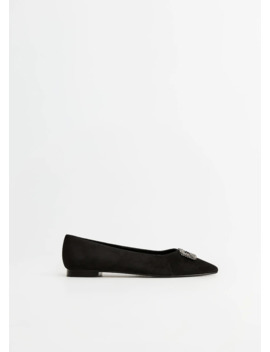 Buckle Leather Ballerina by Mango