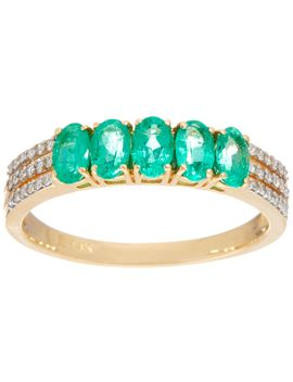 5 Stone Colombian Emerald & Diamond Band Ring, 14 K by Qvc