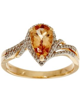 Pear Shaped Imperial Topaz & Diamond Ring 14 K Gold 1.35 Ct by Pear Cut