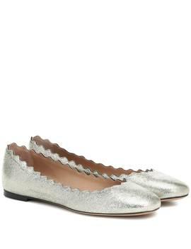 Lauren Metallic Leather Ballet Flats by Chloé