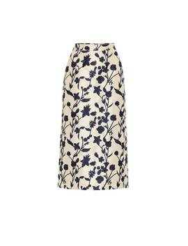 Quercini Floral Jacquard Midi Skirt by Brock Collection