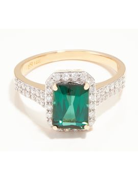 14 K Gold Green Blue Tourmaline &Amp; Diamond Ring, 1.40 Cttw by Qvc