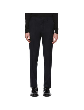 Navy Flannel Cigarette Trousers by Ami Alexandre Mattiussi
