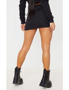 Black Rib Ruched Detail Mini Skirt  by Prettylittlething