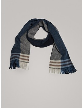 Wool Scarf In Shades Of Blue by Massimo Dutti