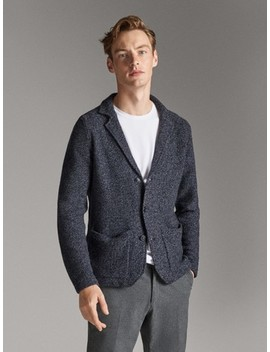 Navy Cotton And Wool Buttoned Cardigan by Massimo Dutti