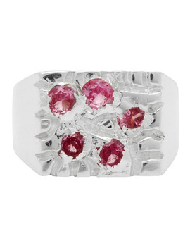 Silver & Pink 'the Rose Garden' Signet Ring by Bleue Burnham