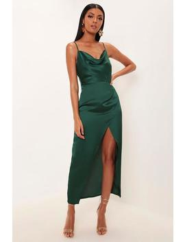 Emerald Green Satin Cowl Neck Maxi Dress by I Saw It First