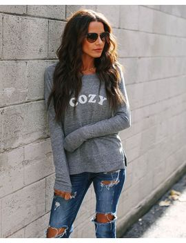 Cozy Cotton Blend Long Sleeve Top by Vici