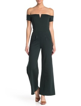 Off The Shoulder Notch Neck Wide Leg Jumpsuit by Vanity Room
