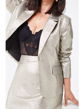 Plus Size Metallic Blazer by Forever 21