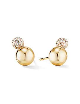 Solari Stud Earrings In 18 K Yellow Gold With Diamonds by David Yurman