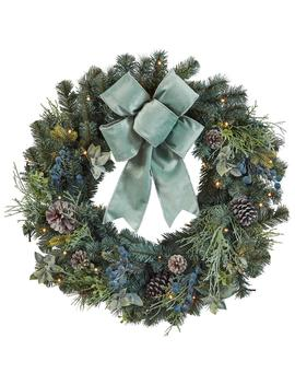 32 In. Pre Lit Led Sugarplum Knoll Artificial Christmas Wreath by Home Accents Holiday