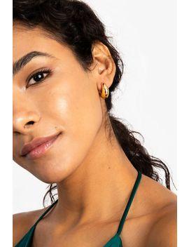 Gold Mini Chunky Hoop Earrings by Topshop