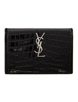 Black Croc Uptown Card Holder by Saint Laurent